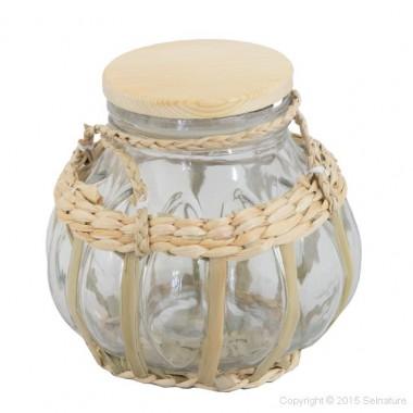 Unieke glazen pot met touw voor Keltisch zeezout uit Frankrijk