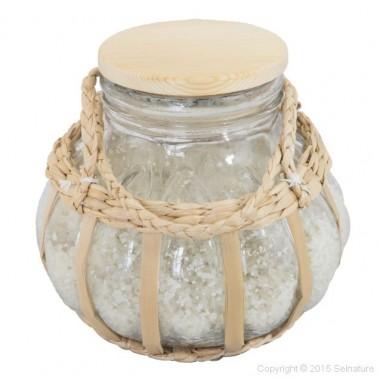 Unieke glazen pot met touw voor Keltisch zeezout uit Frankrijk inclusief 1 kilo Selnature grof keltisch zeezout