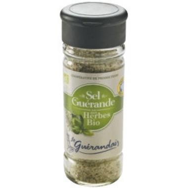 Le Guerandais 90 gram fijn Keltisch zeezout met kruiden in glazen strooibus