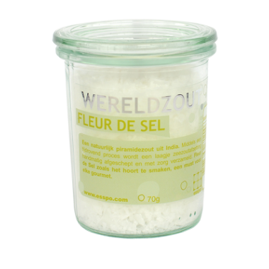 Fleur de sel India in glazen pot