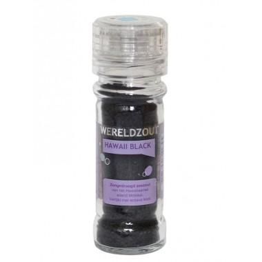 Hawaii black zongedroogd zout in glazen hervulbare molen